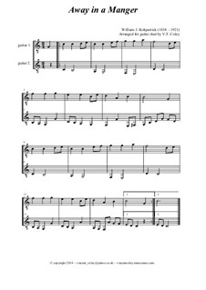 Five Easy Christmas Carol Duets (Minus One option) arranged for Two Guitars: Five Easy Christmas Carol Duets (Minus One option) arranged for Two Guitars by folklore, Франц Ксавьер Грубер, Уильям (Джеймс) Киркпатрик