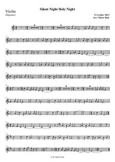 Тихая ночь, дивная ночь, для одного инструмента: For violin (easy version) by Франц Ксавьер Грубер