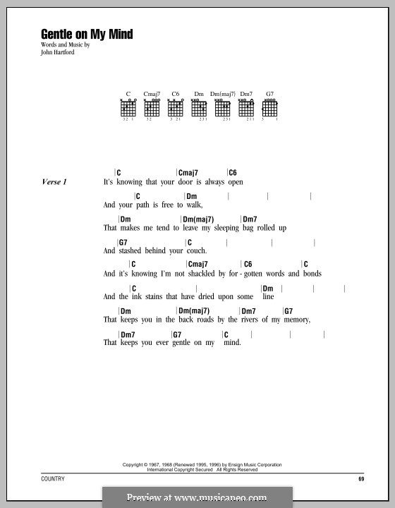 Gentle On My Mind: Текст, аккорды by John Hartford