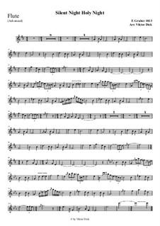 Тихая ночь, дивная ночь, для одного инструмента: For flute (advanced version) by Франц Ксавьер Грубер