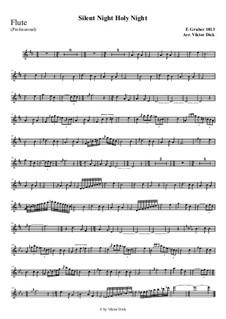 Тихая ночь, дивная ночь, для одного инструмента: For flute (professional version) by Франц Ксавьер Грубер