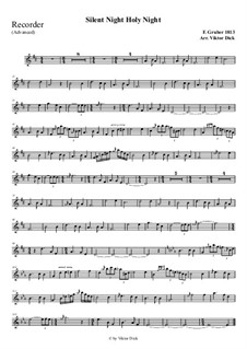 Тихая ночь, дивная ночь, для одного инструмента: For recorder (advanced version) by Франц Ксавьер Грубер