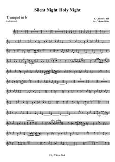 Тихая ночь, дивная ночь, для одного инструмента: For trumpet in B (advanced version) by Франц Ксавьер Грубер