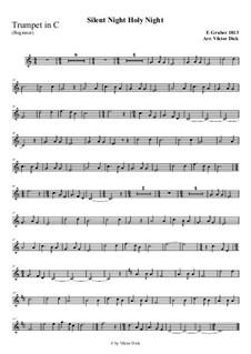Тихая ночь, дивная ночь, для одного инструмента: For trumpet in C (easy version) by Франц Ксавьер Грубер