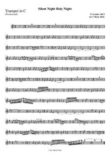 Тихая ночь, дивная ночь, для одного инструмента: For trumpet in C (professional version) by Франц Ксавьер Грубер