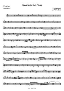 Тихая ночь, дивная ночь, для одного инструмента: For clarinet (professional version) by Франц Ксавьер Грубер