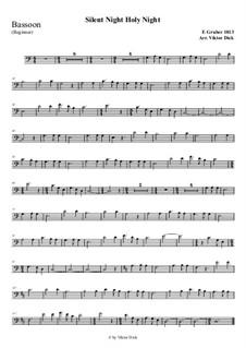 Тихая ночь, дивная ночь, для одного инструмента: For bassoon (easy version) by Франц Ксавьер Грубер