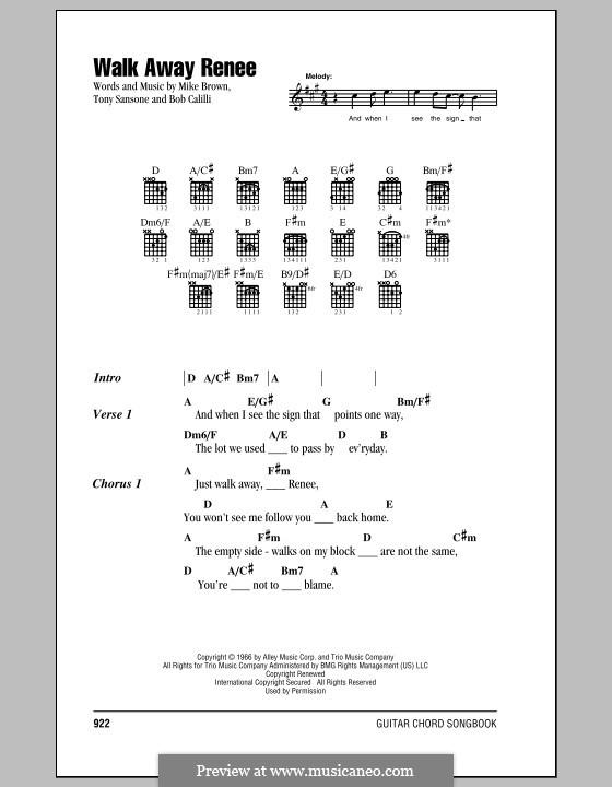 Walk Away, Renee: Lyrics and chords (The Left Banke) by Bob Calilli, Michael Brown, Tony Sansone
