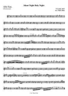 Тихая ночь, дивная ночь, для одного инструмента: For alto saxophone (professional version) by Франц Ксавьер Грубер