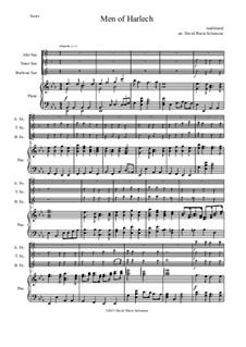 Men of Harlech (Rhyfelgyrch Gwŷr Harlech): For saxophone trio and piano by folklore, Дэвид Соломонс