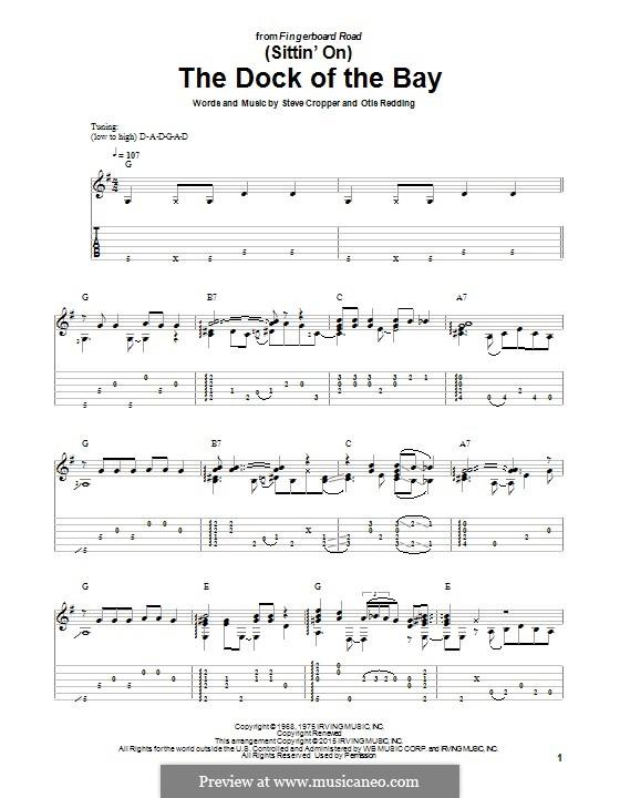 (Sittin' On) The Dock of the Bay: Гитарная табулатура by Otis Redding, Steve Cropper