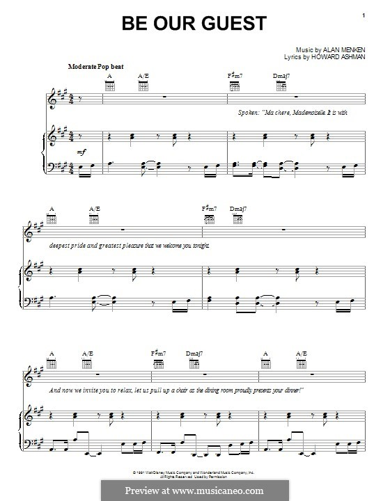 Be Our Guest (from Beauty and the Beast): Для голоса и фортепиано (или гитары) by Alan Menken
