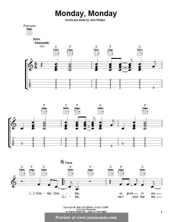 Monday Monday (The Mamas & The Papas): Для укулеле by John Phillips