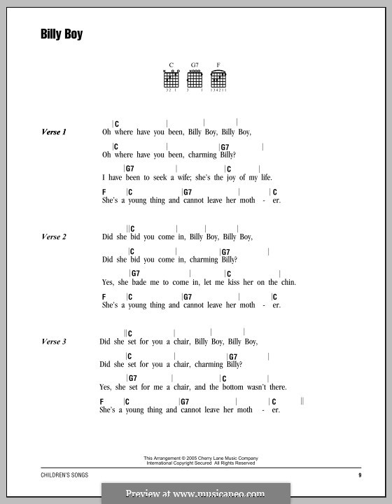 Billy Boy: Текст, аккорды by folklore