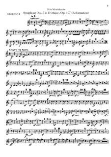 Симфония No.5 ре мажор 'Реформаторская', Op.107: Партии валторн by Феликс Мендельсон-Бартольди