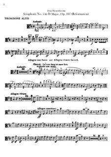 Симфония No.5 ре мажор 'Реформаторская', Op.107: Партии тромбонов by Феликс Мендельсон-Бартольди