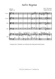 Salve Regina: Для струнного квартета by Unknown (works before 1850)