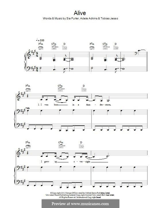 Alive: Для голоса и фортепиано (или гитары) by Adele, Sia Furler, Tobias Jesso