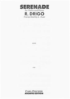 Serenade for Violin and Piano: Партитура, сольная партия by Риккардо Дриго