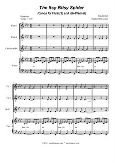 The Itsy Bitsy Spider: For flute (2) and Bb-clarinet by folklore