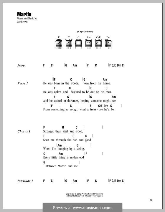 Martin (Zac Brown Band): Текст, аккорды by Zac Brown