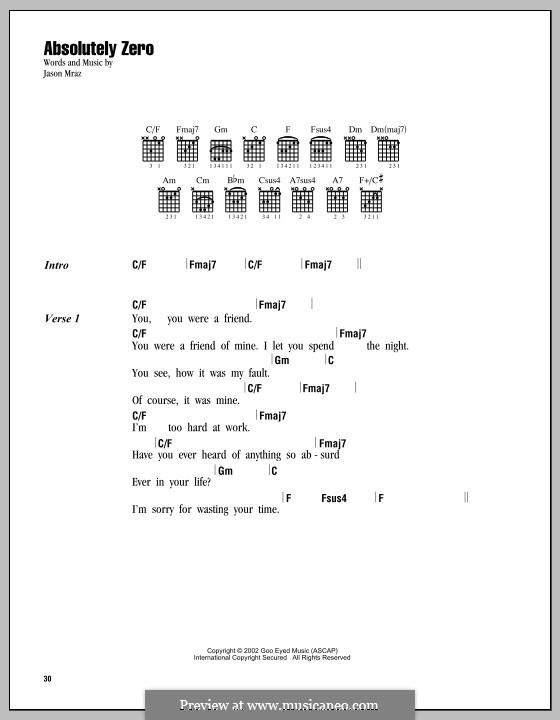 Absolutely Zero: Текст, аккорды by Jason Mraz