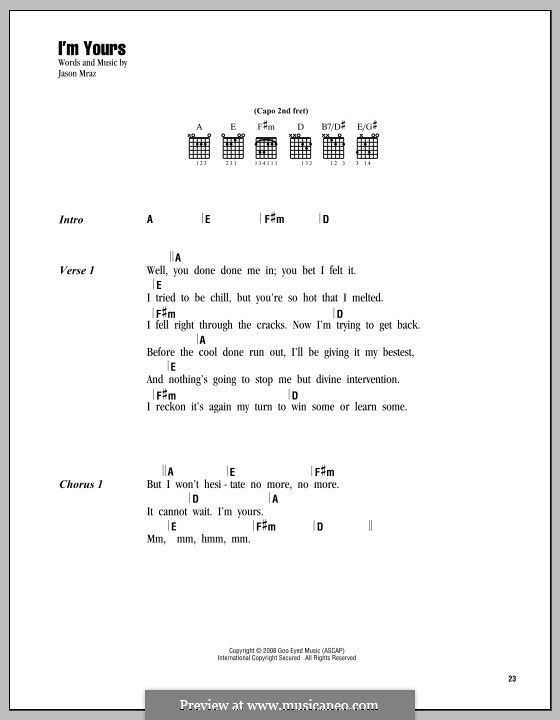 I'm Yours: Текст, аккорды by Jason Mraz