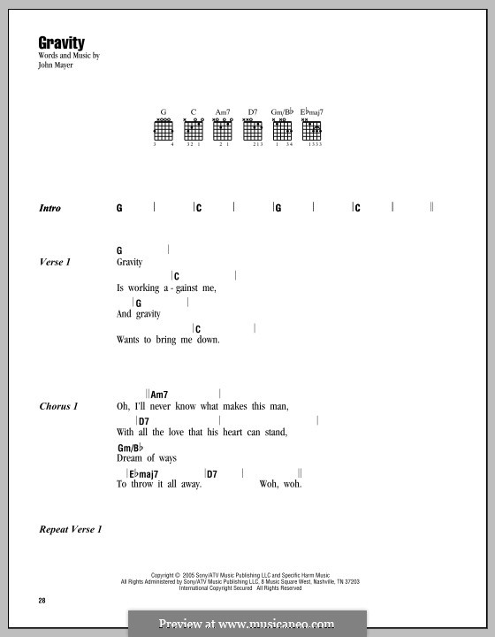 Gravity: Текст, аккорды by John Mayer