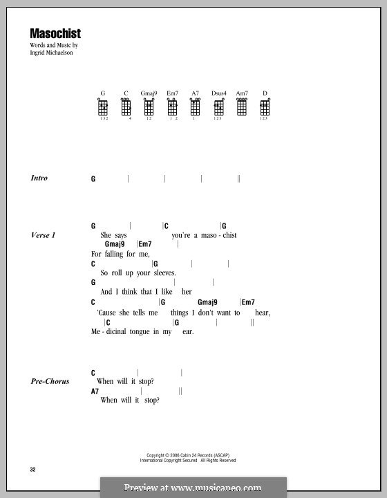 Masochist: Для укулеле by Ingrid Michaelson