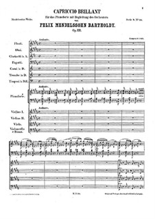 Блестящее каприччио, Op.22: Партитура by Феликс Мендельсон-Бартольди