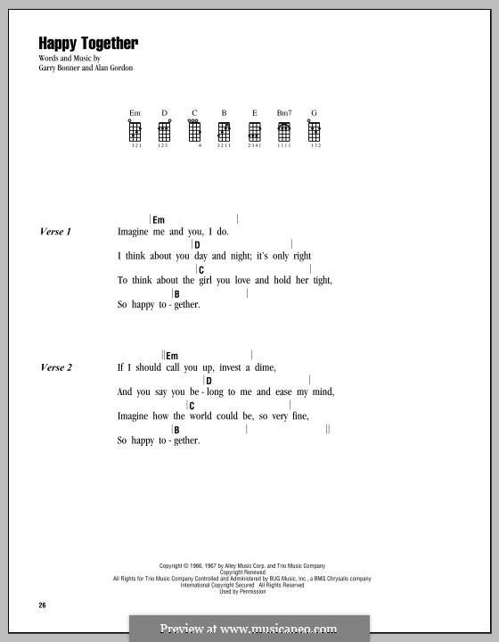 Happy Together (The Turtles): Для укулеле by Alan Gordon, Garry Bonner