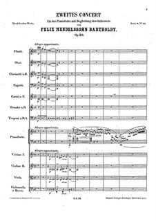 Концерт для фортепиано с оркестром No.2 ре минор, Op.40: Партитура by Феликс Мендельсон-Бартольди