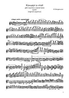 Концерт для скрипки с оркестром ми минор, Op.64: Версия для скрипки и фортепиано – партия скрипки by Феликс Мендельсон-Бартольди