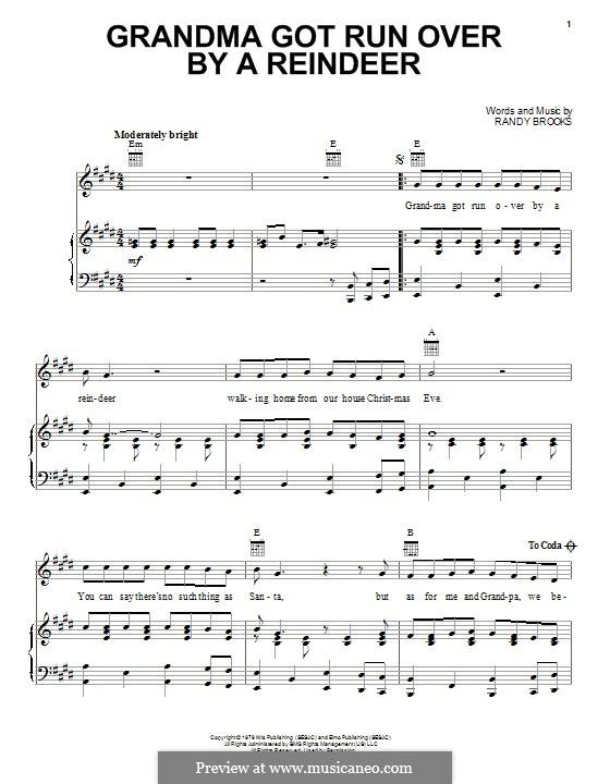 Grandma Got Run Over By a Reindeer: Для голоса и фортепиано (или гитары) by Randy Brooks