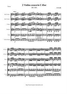 Concerto for Two Violins and Strings in C Major, RV 505: Score and all parts by Антонио Вивальди