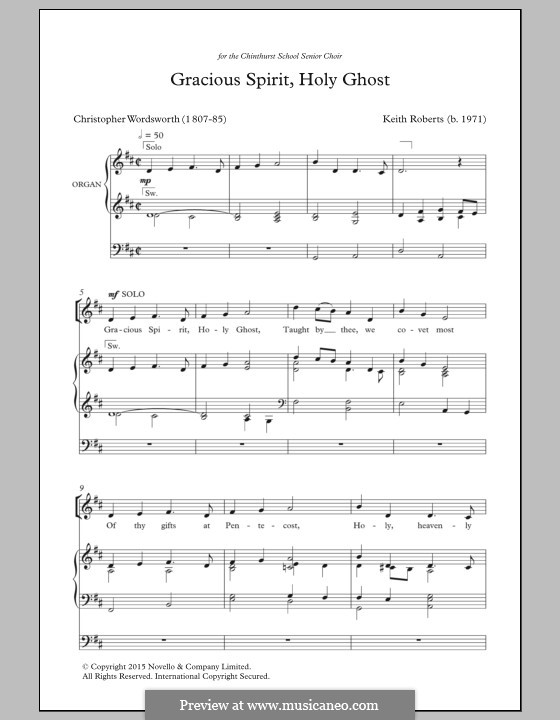 Gracious Spirit, Holy Ghost: Для смешанного хора by Keith Roberts