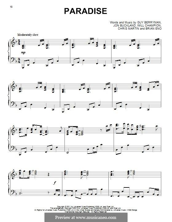 Paradise (Coldplay): Для фортепиано by Brian Eno, Chris Martin, Guy Berryman, Jonny Buckland, Will Champion