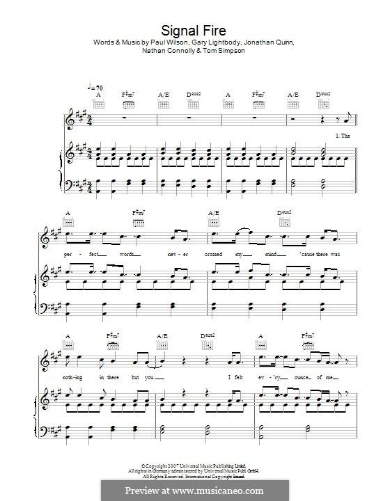 Signal Fire (Snow Patrol): Для голоса и фортепиано (или гитары) by Gary Lightbody, Jonathan Quinn, Nathan Connolly, Paul Wilson, Tom Simpson
