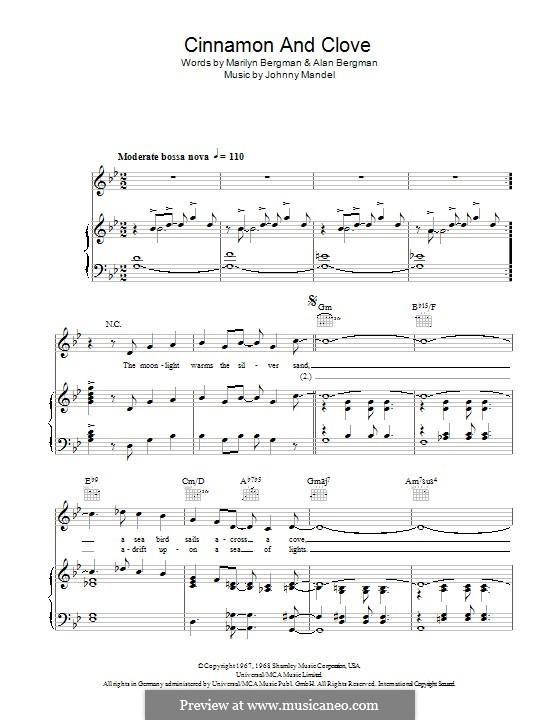 Cinnamon and Clove: Для голоса и фортепиано (или гитары) by Johnny Mandel