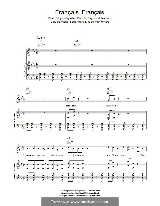 Francais, Francais: Для голоса и фортепиано (или гитары) by Claude-Michel Schönberg