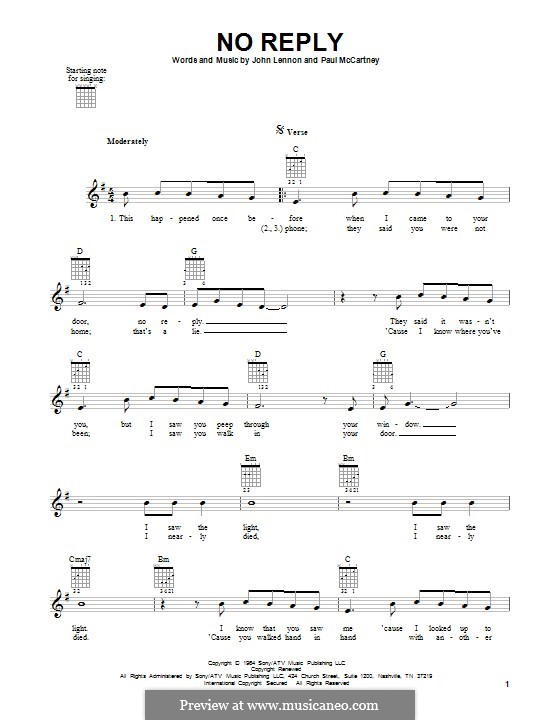 No Reply (The Beatles): Гитарная табулатура by John Lennon, Paul McCartney