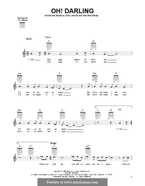 Oh! Darling (The Beatles): Гитарная табулатура by John Lennon, Paul McCartney
