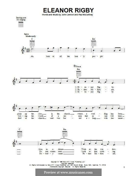 Eleanor Rigby (The Beatles): Гитарная табулатура by John Lennon, Paul McCartney