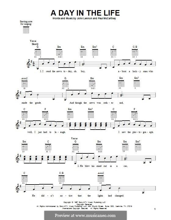 A Day in the Life (The Beatles): Для гитары by John Lennon, Paul McCartney