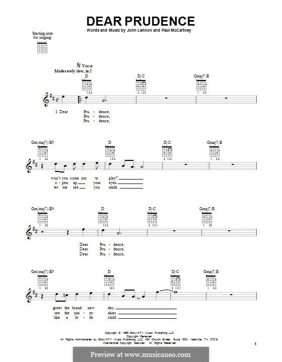 Dear Prudence (The Beatles): Гитарная табулатура by John Lennon, Paul McCartney