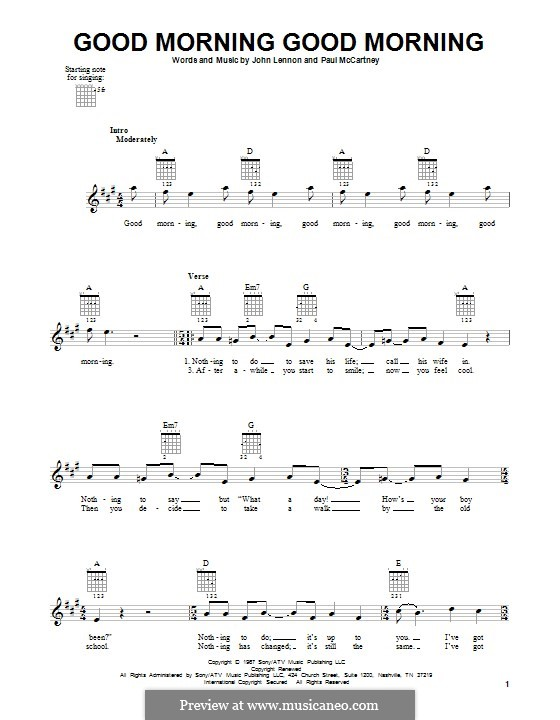 Good Morning Good Morning (The Beatles): Гитарная табулатура by John Lennon, Paul McCartney