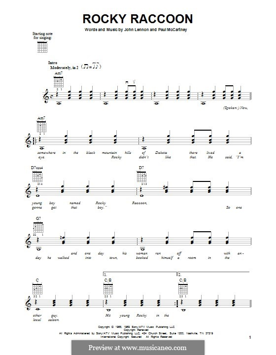 Rocky Raccoon (The Beatles): Гитарная табулатура by John Lennon, Paul McCartney