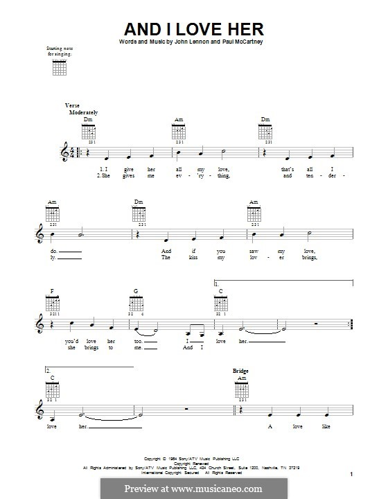 And I Love Her (The Beatles): Для гитары by John Lennon, Paul McCartney