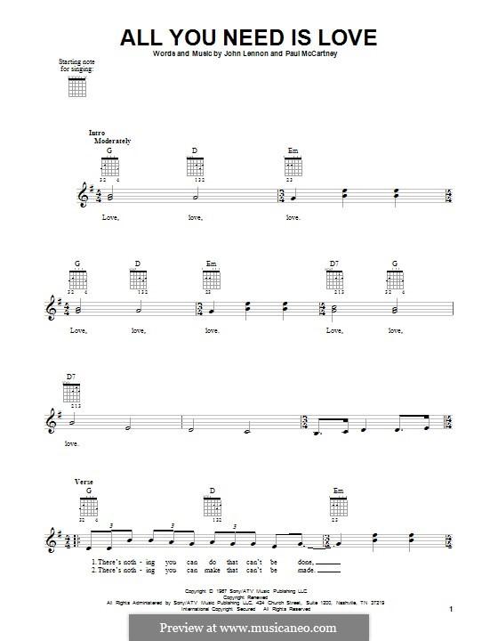 All You Need Is Love (The Beatles): Для гитары by John Lennon, Paul McCartney