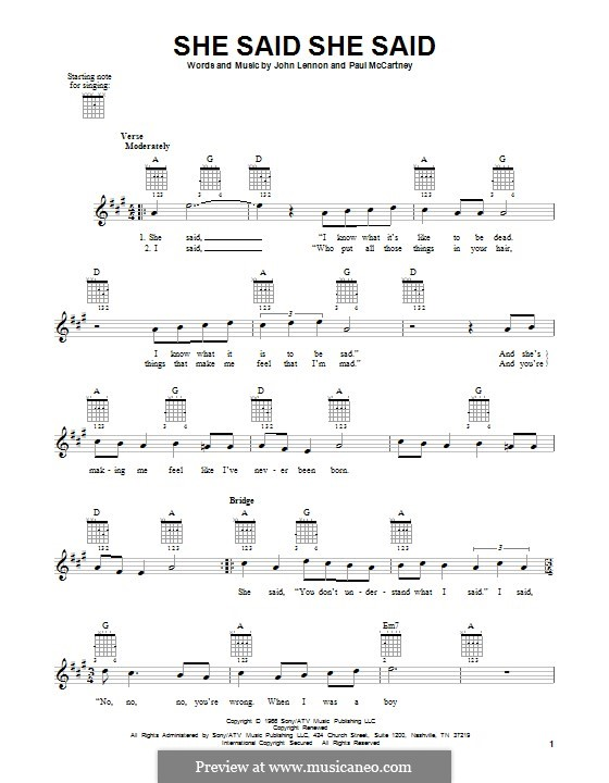 She Said She Said (The Beatles): Гитарная табулатура by John Lennon, Paul McCartney